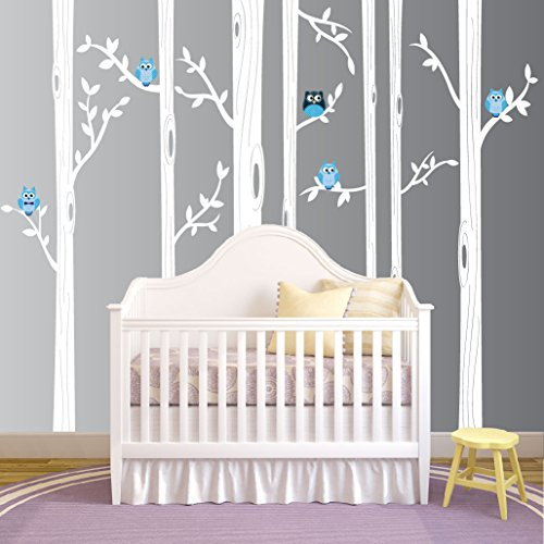 Nursery Birch Tree Wall Decal Set With Owl Birds Forest Vinyl Sticker, Birch Tree Wall Decal, Birch Tree Decal Baby Boy Whimsical Owls (7 trees) #1321 (96