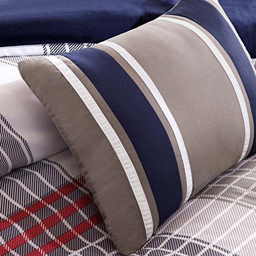 Red Blue Grey Plaid Comforter Boys Teen Bedding Set Pillow entire queen