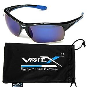 VertX Men's Polarized Sunglasses Sport Cycling Running Outdoor Free Microfiber Pouch – Black & Blue Frame Blue Lens