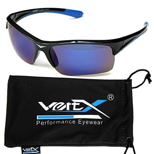 VertX Men's Polarized Sunglasses Sport Cycling Running Outdoor Free Microfiber Pouch – Black & Blue Frame Blue - Sunglasses Oakley Discount