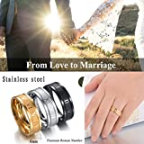4EAELove Stainless Steel Couples Ring Roman