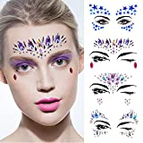 Rhinestone Tattoo Jewel Temporary Stickers - 4 Sets Mermaid Face Gems Rhinestone Sticker, 5 Sets Metallic Henna Tattoos, Glitter Primer, 4 Sets Chunky Glitter Purple for Music Festival/Party/Beach