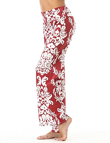 FISOUL Women Pants Women Floral Printed Straight Wide Leg Pants Leisure Full-Length Trousers Floral Wide Leg Pants Women Wide Leg Pants Wine Red (Floral Wide Leg Trouser)