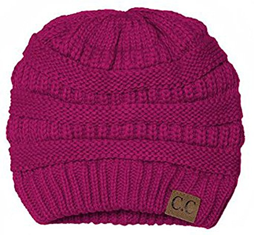 - Black Thick Slouchy Knit Oversized Beanie Cap Hat,One Size,Hot Pink