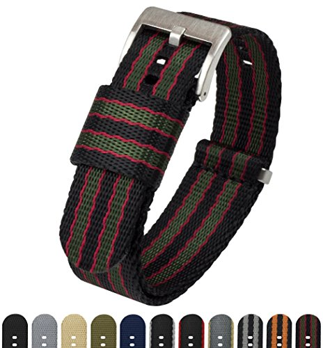 BARTON Jetson NATO Style Watch Strap - 18mm 20mm 22mm or 24mm - Black/Green/Red Classic Bond 20mm Nylon Watch Band by Barton Watch Bands
