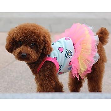 Caniche La primavera y el verano falda perro Venta de precioso cuerpo vaquero falda Mascotas Princesa falda Perros ropa femenina,1 Ver ropa de cama,8Número: ...
