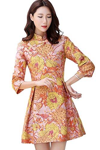 マイクロプロセッサアンプ中で[美しいです] レディース ワンピース 七分袖 夏 秋 冬 Aライン スリム ウエスト締める 中国風 七分袖 刺繍 チャイナドレス