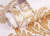 [Mignon Lapin] 壁紙 ダマスク柄 45㎝×10m はがせる シールタイプ 生活防水 模様替え (02 ゴールド)
