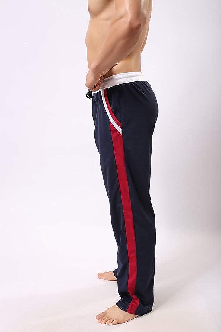 Fenshuda-men clothes Mens Homewear Summer Drawstring Stripes Casual Pants Sweatpants