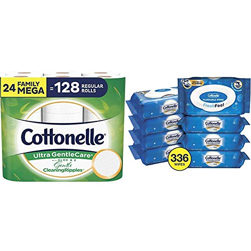 Cottonelle Toilet Paper Bundle - Cottonelle Ultra GentleCare Toilet Paper, 24 Mega Rolls and Cottonelle FreshCare Flushable Wipes, 8 Packs, 42 Wipes Per Pack (336 Wipes Total)