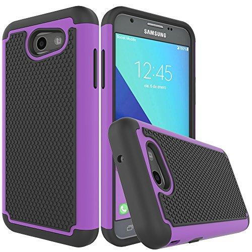 Galaxy J3 Emerge Case,Galaxy J3 Prime Case,Galaxy J3 Luna Pro Case,J3 Eclipse Case,Galaxy Express/Amp Prime 2 Case,Asmart Armor Defender Cover Protective Phone Case for Samsung Galaxy J3 2017, Purple