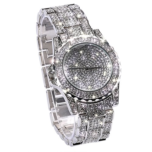 Huntmic Luxury Full Diamond Ladies Watch Rhinestone Stainless Steel Band Bracelet Wristwatch (Silver)