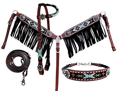 Showman 4 PC Teal Black Beaded Medium Leather Horse Bridle Breast Collar Wither - Horse Beaded