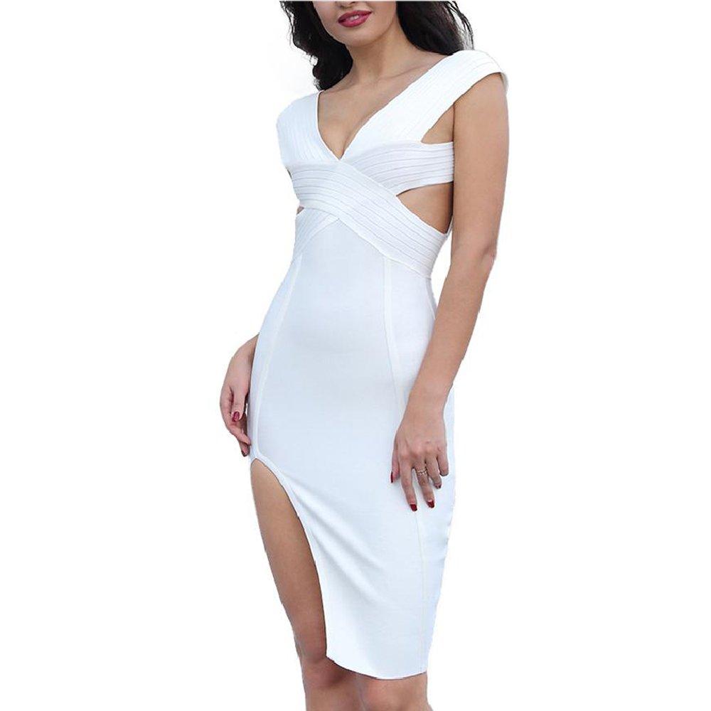 Summer Party Dresses V-Neck Backless Hollow Out Splitted Celebrity Women Bandage Dresses