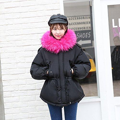Winter Coats Cotton Coat Short Black Coat Female Collar Cotton Jacket Cotton Xuanku Cute Collar Feather Paragraph TdOqzqa