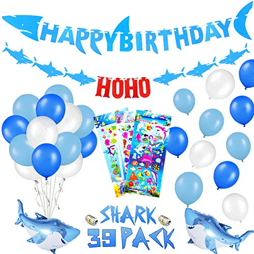 39 PACK Shark Birthday Party Decorations for Kids - Shark Happy Birthday Banner, Ocean Color Balloons, Mini Shark Balloons, Cute Cartoon Puffy Stickers | Aster Birthday Supplies Set for 1st 2nd 3rd 4-12 year Boys