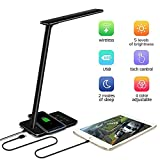 LED Desk Lamp with Qi Wireless Charger Pad for Qi-Enabled Device, Dimmable Folding Bedside Table Lamp - 4 Lighting Modes, 5-Level Dimmer Touch - Sensitive Control (Black)