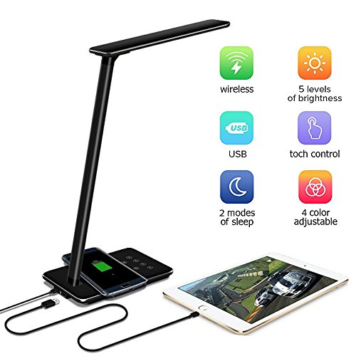 LED Desk Lamp with Qi Wireless Charger Pad for Qi-Enabled Device, Dimmable Folding Bedside Table...
