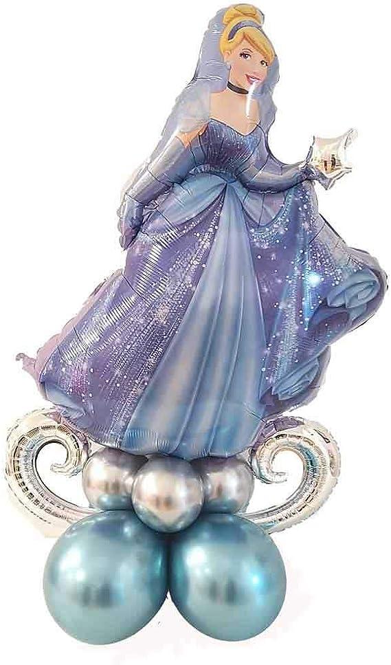 KREA Composición de mesa con personajes de Disney Cenicienta, centro de mesa, globos de fiesta con temática de Cenicienta, no necesita helio, inflable con bomba para globos