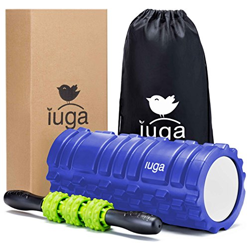 IUGA Foam Roller and Massage 2 in 1 Set, Trigger Point Therapy - Myofascial Release - Muscle Roller for Fitness, CrossFit, Yoga & Pilates (Blue)