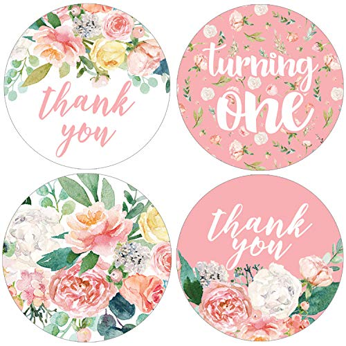 Pink Floral 1st Birthday Party Favor Labels | 1.75