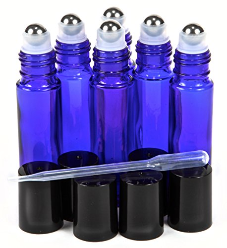 Glass Roller (6, Cobalt Blue, 10 ml Glass Roll-on Bottles with Stainless Steel Roller Balls - .5 ml Dropper Included)