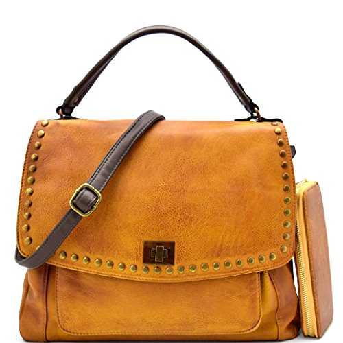 Le Miel Distressed Effect Vegan Leather Top Handle Flap Crossbody + Wallet (Mustard)
