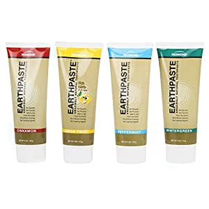 Redmond Earthpaste Natural Non-Flouride Toothpaste, 4 Pack (Lemon, Wintergreen, Cinnamon, Peppermint)