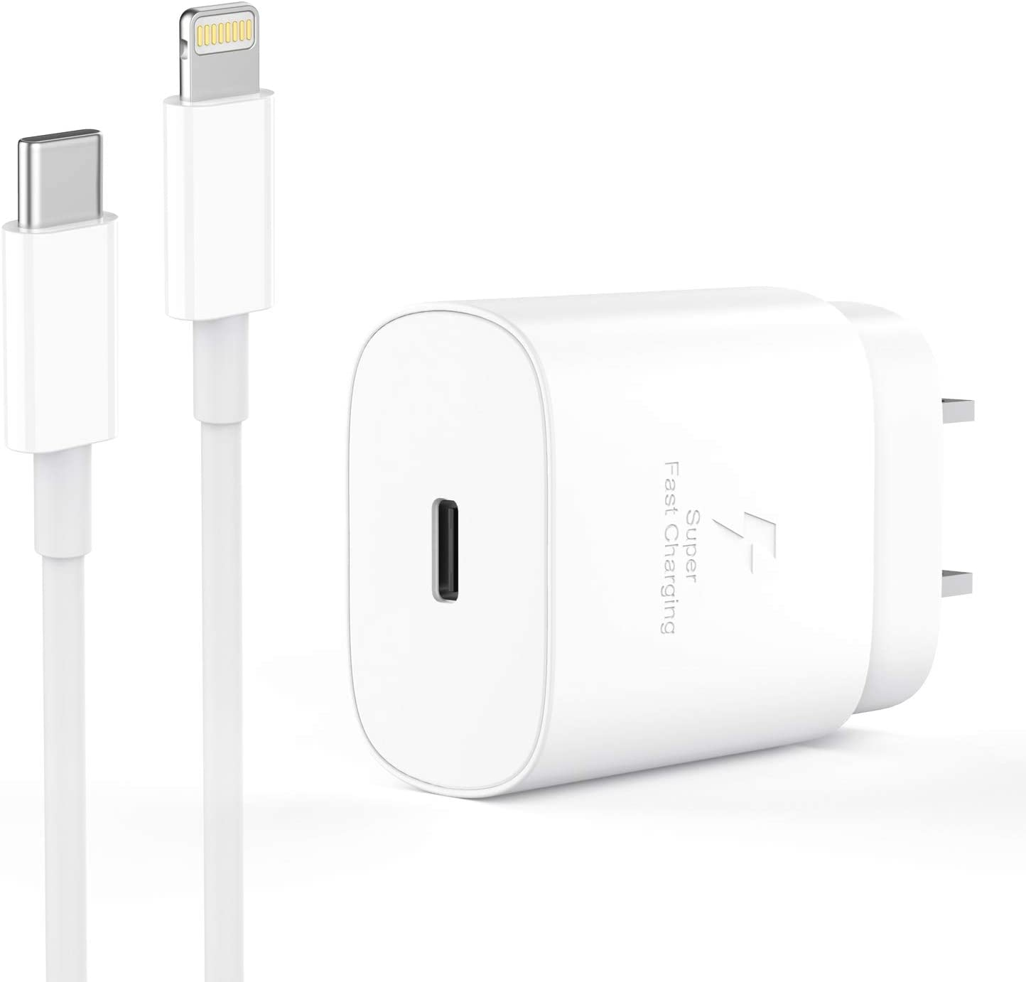 20W PD Fast Charger Compatible with iPhone 12/12 Mini/12 Pro Max/Xs Max XR X 11 10 8 Plus iPad Pro [ iPhone 7 6 6s Plus 5S ], Wall Plug Charger Adapter with 5.0FT USB Type C to Lightning Cable