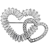 Hiddeston Valentines Day Cubic-Zirconia CZ Couple Heart Shaped Brooch Pin For Her Women