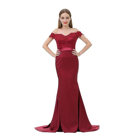 WellBridal Burgundy Prom Dresses Mermaid Lace Off Shoulder Formal ...