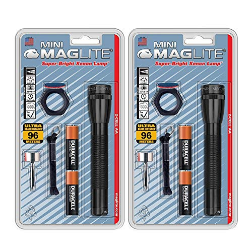 Maglite Mini Incandescent 2-Cell AA Flashlight Combo, Black (2 Pack)
