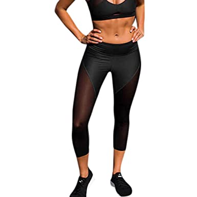 6fee670166 Women's Stretchy Skinny Sheer Mesh Insert Workout Leggings Color Block Yoga  Tights (S, Black