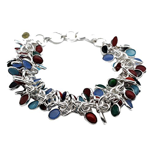 HERMOSA Multi-Precious Stones Fashion 925 Sterling Silver Jewelry Set Necklaces Bracelet Coral Emerald - Coral Bracelet Set Cuff