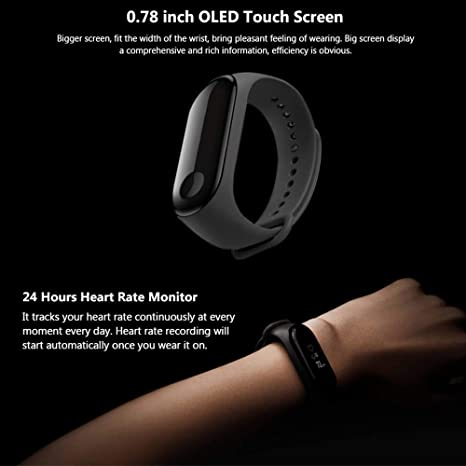 Amazon.com : Xiaomi Fitness Tracker, Mi Band 3 Heart Rate Monitor Activity Tracker Watch 50M Waterproof Smart Bracelet 0.78 OLED Display Weather Forecast ...
