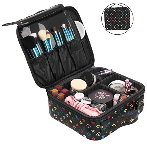 be64ff3a6c1a NiceEbag Travel Makeup Bag Cosmetic Bag for Women Girls Professional Train  Case Leather Cosmetic Storage Organizer with Removable Dividers for ...