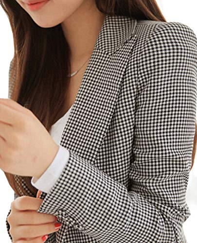 Niaona Women's Houndstooth Blazer Work Office Notched Lapel One-Button Jacket