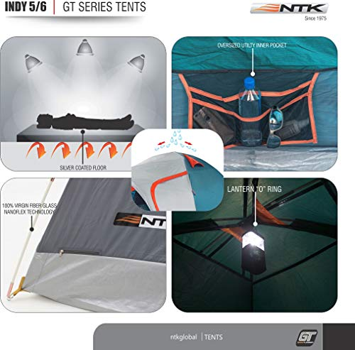NTK Indy GT 4 to 5 Person 12.2 by 8.0 Foot Sport Camping Tent 100% Waterproof 2500mm