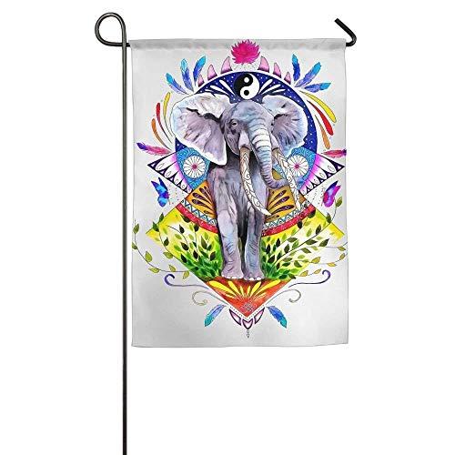 HUVATT Indian Tribe Elephant Art Garden Flag Indoor