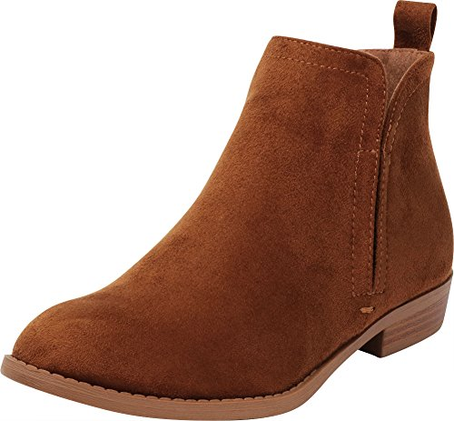 Cambridge Select Women's Classic Closed Round Toe Side Stretch Cutout Pull-On Chunky Stacked Low Heel Ankle Bootie Chestnut Imsu