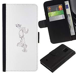 All Phone Most Case / Oferta Especial Cáscara Funda de cuero Monedero Cubierta de proteccion Caso / Wallet Case for Samsung Galaxy S5 Mini, SM-G800 // Octopus Drawing Pencil Art