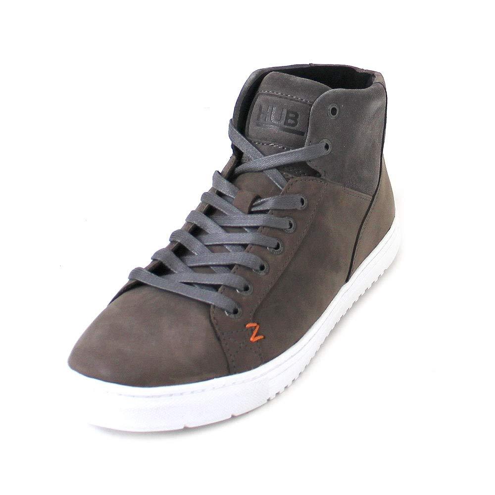 Hub - Zapatillas de Cuero oacute n para Hombre Marr oacute n Cuero Blanco  gris aacute ceo 487f84 505711cc7e6