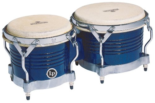 Matador Wood Lp - Latin Percussion M201-BLWC LP Matador Wood Bongos - Royal Blue/Chrome