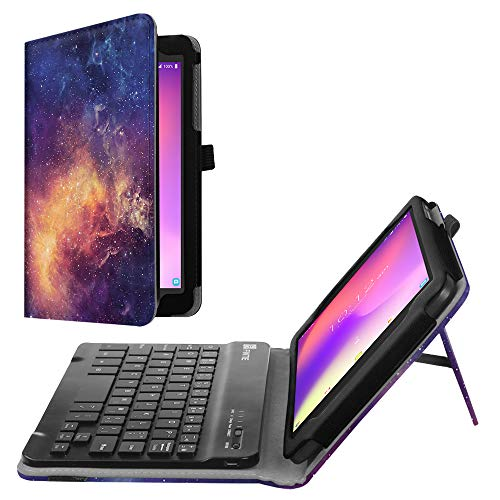 Fintie Alcatel 3T / Alcatel A30 8 Tablet Keyboard Case - PU Leather Folio Stand Cover with Removable Wireless Bluetooth Keyboard for T-mobile Alcatel 3T 2018 / A30 2017 Tablet 8 inch, Galaxy
