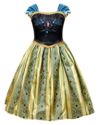 Cotrio Little Girls Anna Coronation Dress Princess Anna Costume Dress up Halloween Cosplay Party Fancy Dresses Size 4T (110, Green 02) -