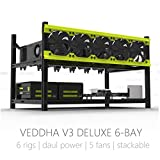 Veddha Professional 6 GPU Miner Case Aluminum Stackable Mining Case Rig Open Air Frame For Ethereum(ETH)/ETC/ ZCash/Monero/BTC Excellent air convection design to improve GPU performance and life