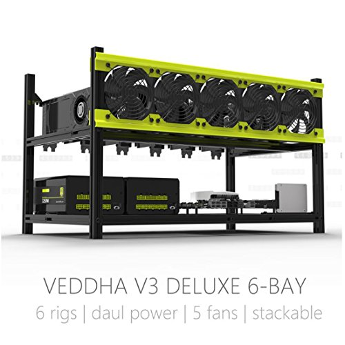 Veddha Professional 6 GPU Miner Case Aluminum Stackable Mining Case Rig Open Air Frame For Ethereum(ETH)/ETC/ ZCash/Monero/BTC Excellent air convection design to improve GPU performance and life by Veddha