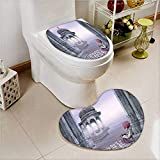 PRUNUS 2 Piece Toilet lid cover mat set India Man with Turban near Ganges River in the Mist Cultural Print Grey Mauve Soft Shaggy Non Slip