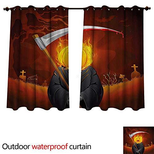 cobeDecor Halloween Outdoor Ultraviolet Protective Curtains Grim Reaper Head Spooky W55 x L45(140cm x -