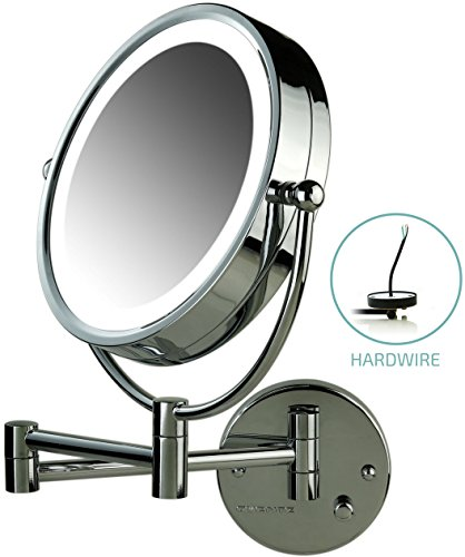 Ovente Lighted Wall Mount Mirror, 8.5 Inch, Dual-Sided 1x/7x Magnification, Hardwired Electrical Connection, Natural White LED Lights, 9-Watts, Polished Chrome (MPWD3185CH1X7X)
